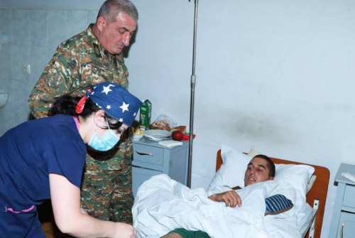 Artsakh Minister of Defense visits wounded troops of latest Azeri attack